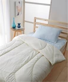 防ダニ。抗菌防臭ベッド用布団4点セット(綿100%肉厚ボリューム敷パッド。枕カバーつき) 布団セットの商品画像