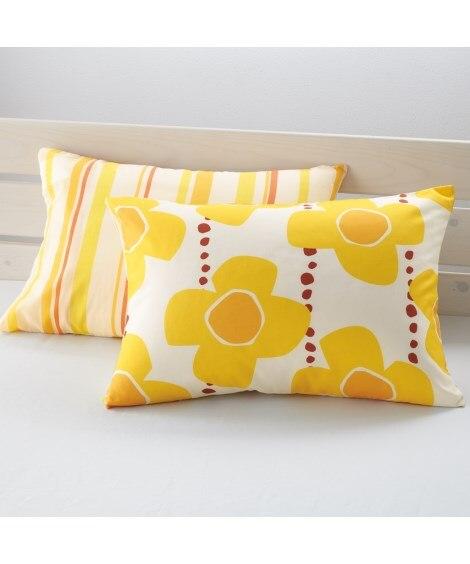 綿混プリントピローケース同色2枚組 枕カバー・ピローパッド,...