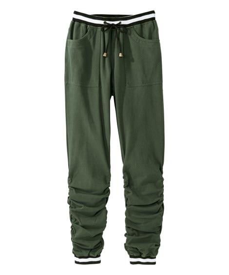 よく伸びる裾シャーリングジョガーパンツ 【大きいサイズレディ...