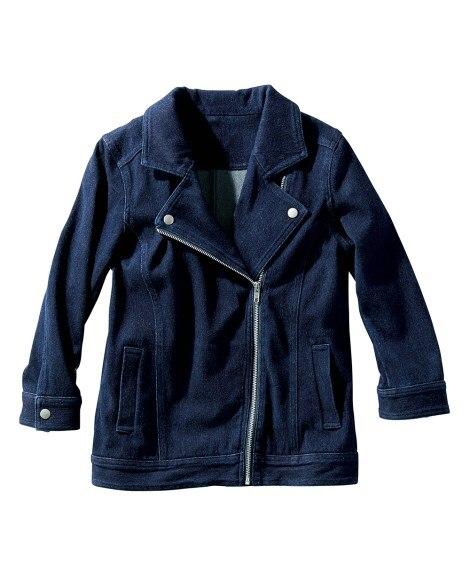 7分袖よく伸びるニットデニムライダース風ジャケット (大きい...