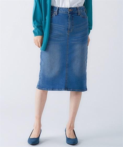 すごのびストレッチデニムひざ丈スカート(ゆったりヒップ) (...