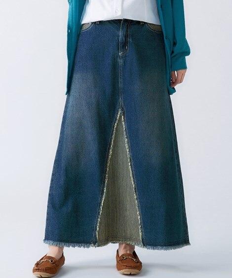 綿100%デザインデニムロングスカート (大きいサイズレディ...