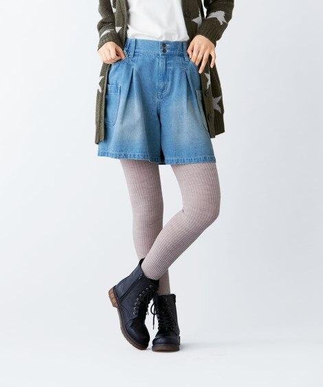 綿100%デザインデニムハーフパンツ (大きいサイズレディー...