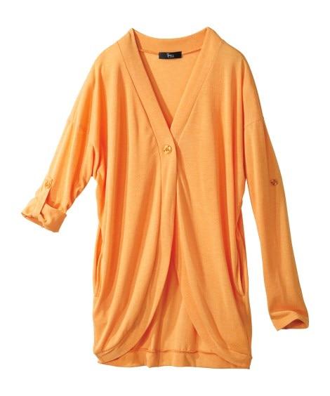 12分袖綿混UVカットうすカルゆったりカーディガン(吸汗速乾...