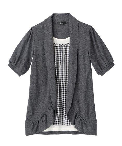 衿ぐり調整できる5分袖重ね着風チュニック (大きいサイズレデ...