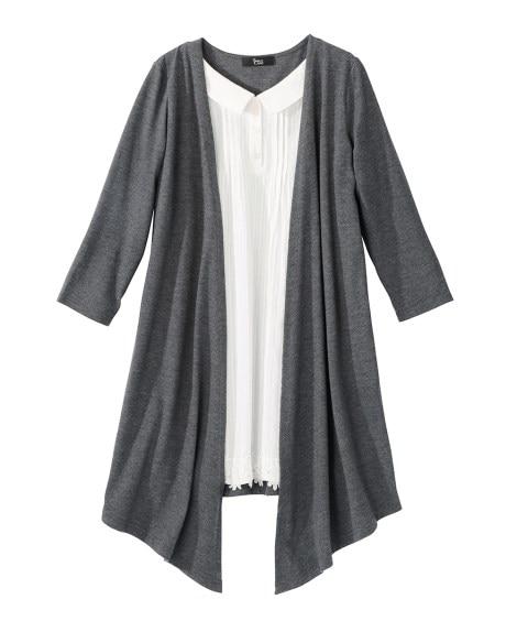 衿ぐり調整できる7分袖シャツ重ね着風チュニック (大きいサイ...