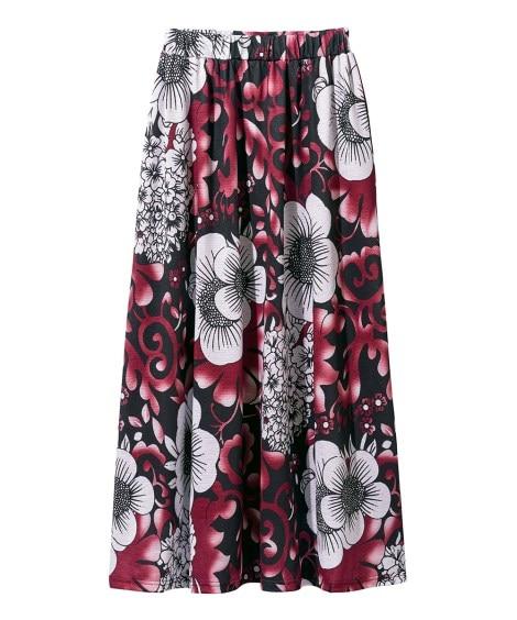花柄カットソーマキシスカート (大きいサイズレディース)スカ...