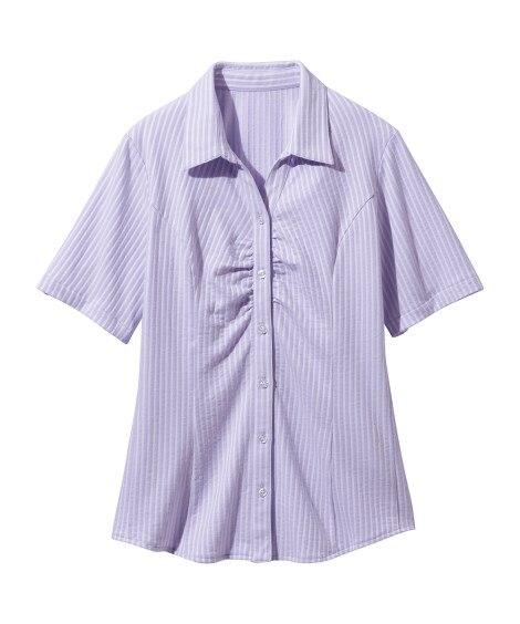 綿混半袖カットソースキッパーシャツ(消臭テープ付)(ゆったりバスト) (大きいサイズレディース)ブラウス,plus size