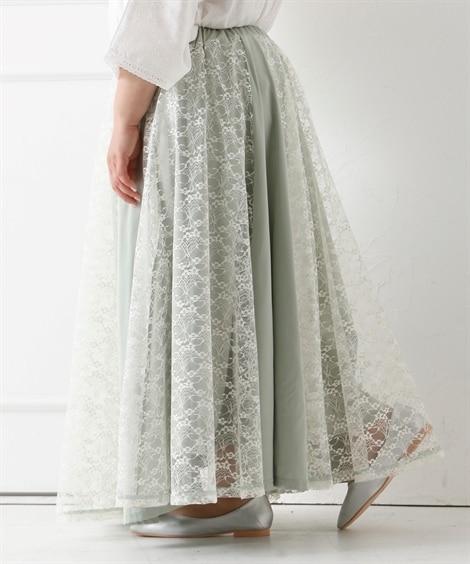 ロング丈レース切替スカート (大きいサイズレディース)スカー...