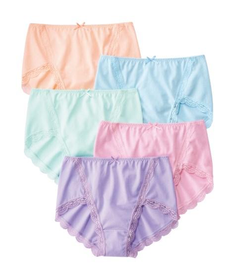 脚さばきがいい綿混ストレッチ脚口レース深ばきショーツ5枚組(3L) スタンダードショーツ, Panties