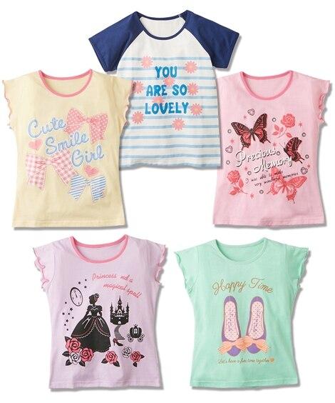 女の子柄プリントTシャツ5枚組(女の子 子供服。ジュニア服)...