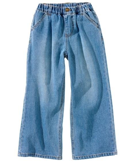 綿100%デニムワイドパンツ(女の子 子供服・ジュニア服) パンツ, Kids' Pants