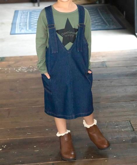 綿100%デニムジャンパースカート(女の子 子供服 ジュニア服) (オールインワン) Kids' Overalls