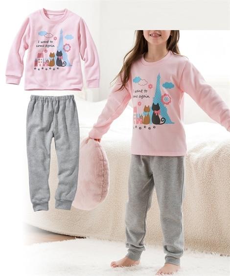 女の子裏起毛プリントパジャマ(女の子 子供服。ジュニア服) ...