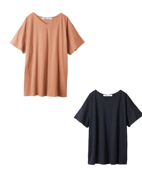 【お得な2枚セット】ゆったりシルエット VネックTシャツ (Tシャツ・カットソー)(レディース)T-shirts,