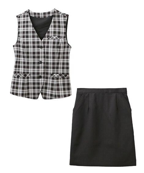 【事務服。ベストスーツ】2点セット(ベスト+スカート)(温湿...