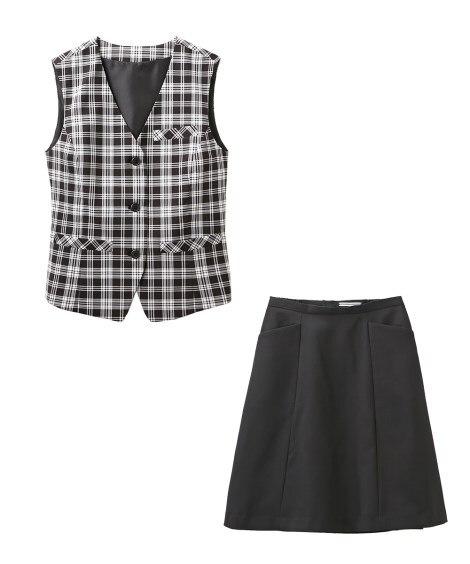 【事務服。ベストスーツ】2点セット(ベスト+フレアスカート)...