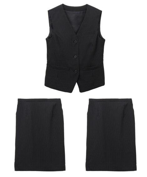 【事務服。ベストスーツ】3点セット(ベスト+2タイトスカート...