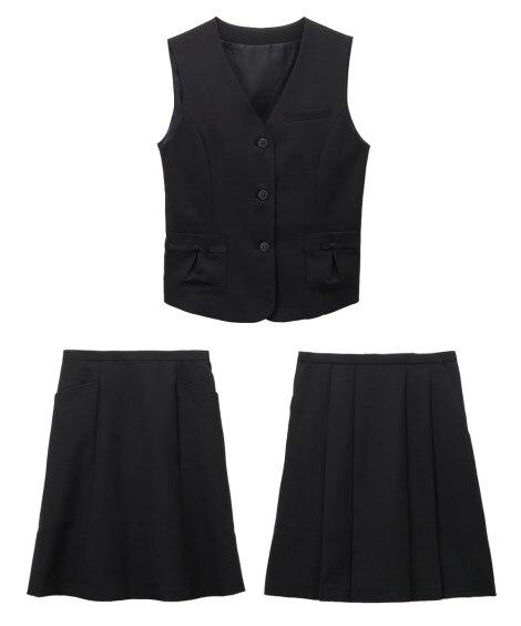 【事務服。ベストスーツ】3点セット(ベスト+プリーツスカート...