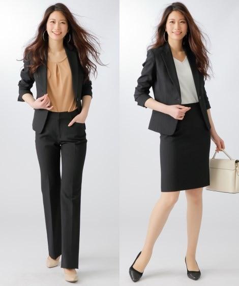 洗える3点セットスーツ(ジャケット+パンツ+タイトスカート)...