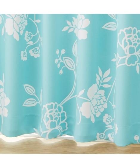 【送料無料!】ラインフラワー柄遮光カーテン 遮光カーテン...