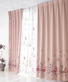 【送料無料!】フラワー柄遮光カーテン ドレープカーテン(遮光あり・なし)の小イメージ