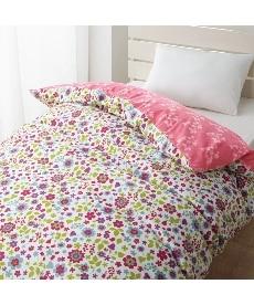 綿混プリント掛け布団カバー(ピンク系小花柄)の商品画像