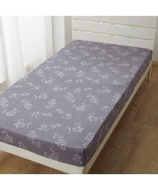 綿混プリントボックスタイプシーツ(マットレス用。グレーモダンリーフ柄)の商品画像