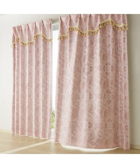 【送料無料!】上飾り付ローズ柄ジャカード織遮熱。遮光カーテン