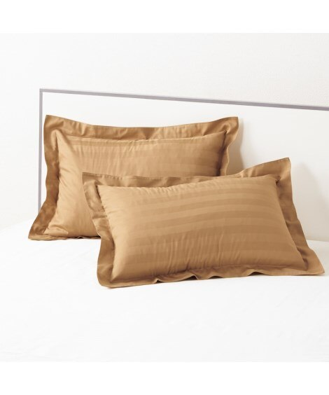 防ダニ。抗菌防臭綿100%サテン地ストライプ柄枕カバー(同色...
