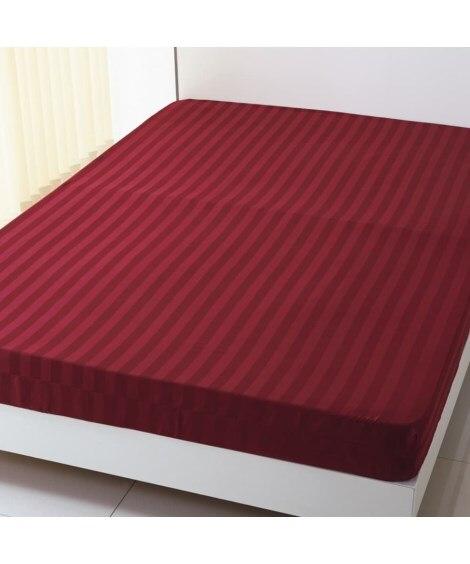 綿混サテン地ストライプ柄ベッドシーツ(マットレス用) ベッド...