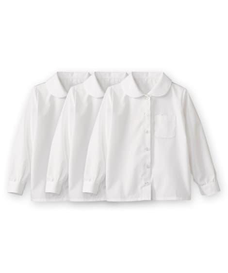 【もっとゆったりサイズ】形態安定。丸衿。長袖スクールブラウス...