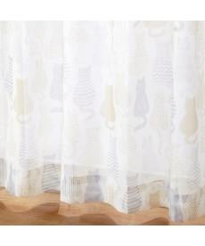 【送料無料!】シルエットネコ柄ボイルレースカーテン ブラックフォーマルの商品画像