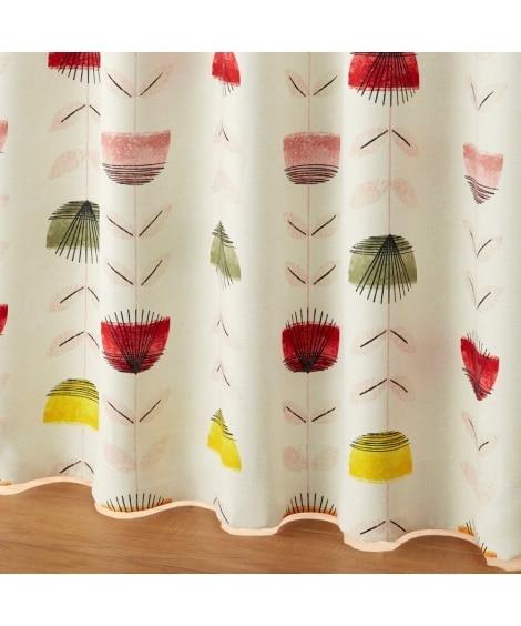 【送料無料!】北欧調フラワー柄遮光カーテン ドレープカーテン...