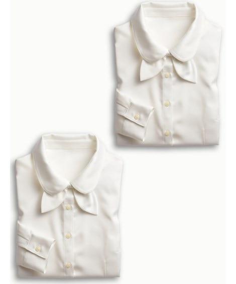 リボンタイ付パウダーサテンシャツ2枚組 事務服・ベストスーツ
