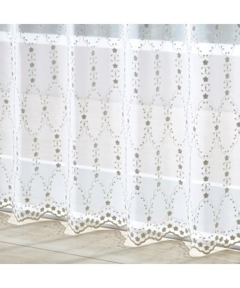 【送料無料!】トルコ刺繍フラワーライン柄レースカーテン レー...