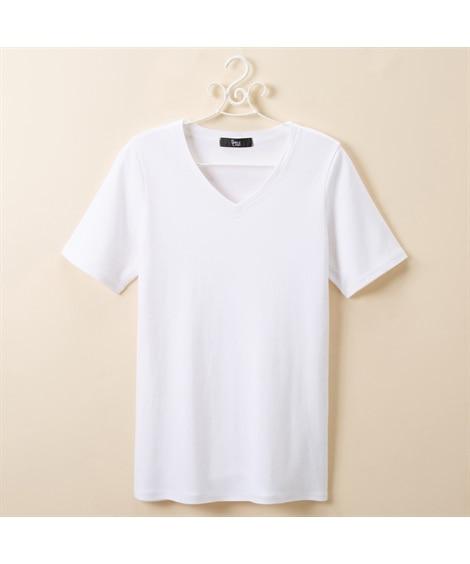 綿100%Vネック半袖Tシャツ (大きいサイズレディース)