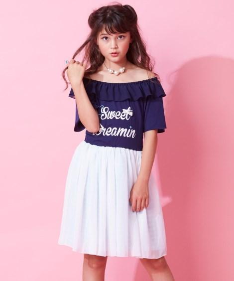 da7f417024107 ... オフショル風ドッキングワンピース(女の子 子供服・ジュニア服)()-(