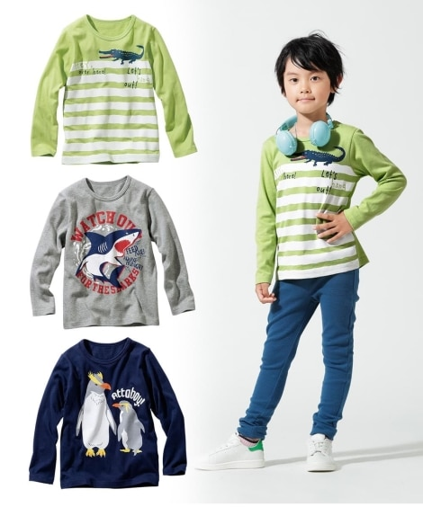 綿100%プリント長袖Tシャツ3枚組(男の子。女の子 子供服...