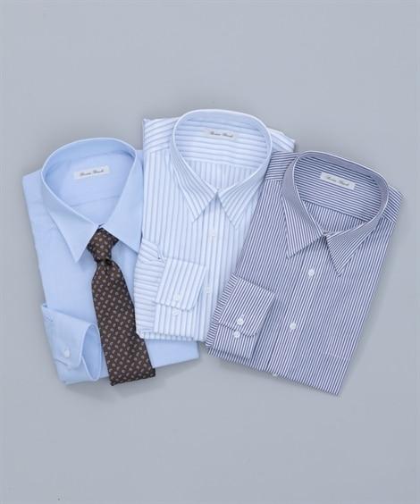 【紳士服】 抗菌防臭。形態安定長袖ワイシャツ3枚組(レギュラ...