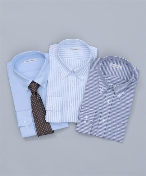 【紳士服】 抗菌防臭。形態安定長袖ワイシャツ3枚組(ボタンダ...