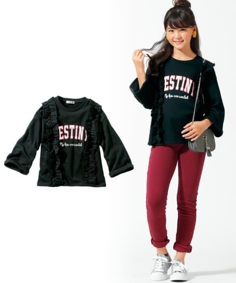 8分袖フリルトレーナー(女の子 子供服。ジュニア服) トレー...