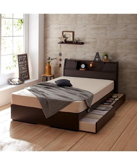 照明。棚。タブレットスタンド。引き出し付き多機能収納ベッド ...