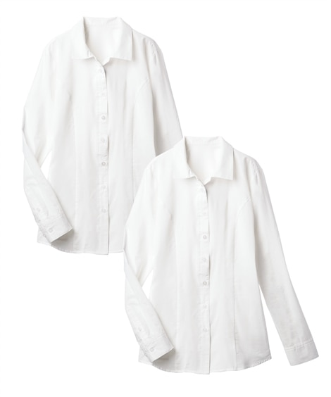 2枚組長袖ハマカラーシャツ(形態安定。抗菌防臭)(選べる2バ...