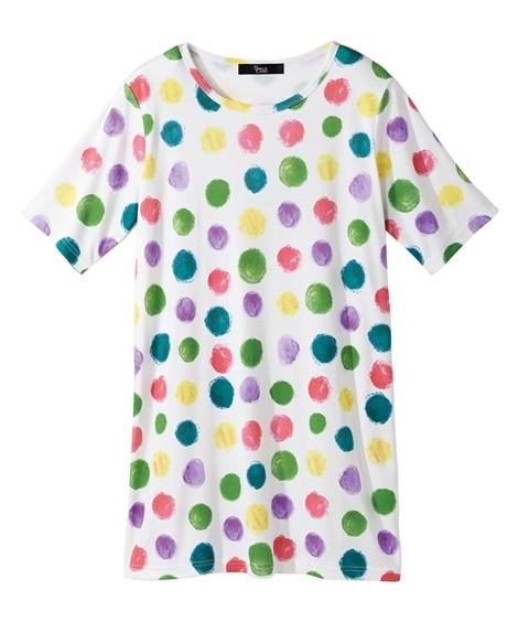 プリントチュニックTシャツ 【大きいサイズレディース】