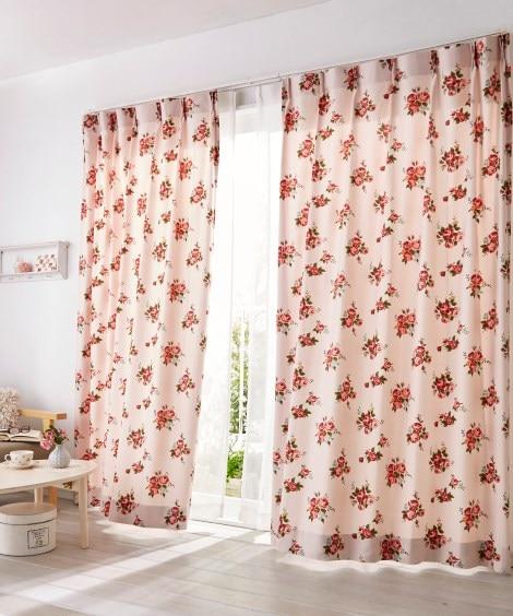 【送料無料!】フェミニンローズ柄カーテン 遮光なしカーテン...