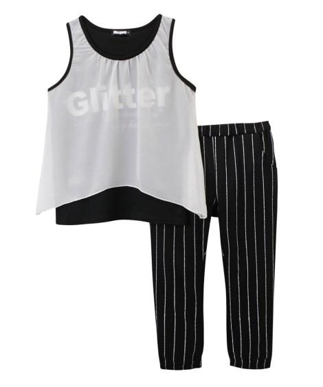 2点セット(タンクトップ+クロップドパンツ)(女の子 子供服...