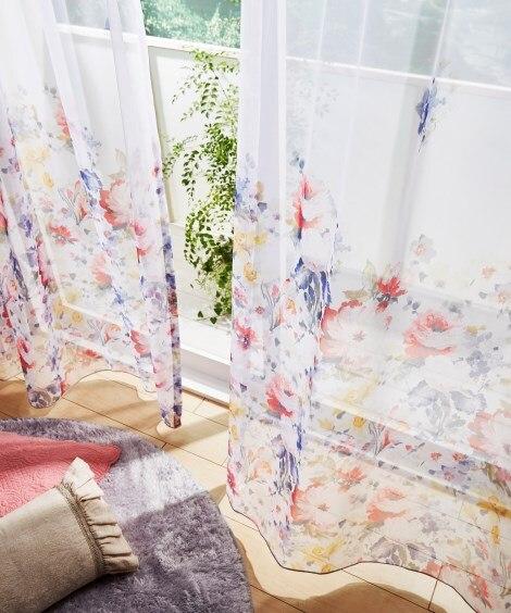 【送料無料!】色鮮やかなフラワー柄レースカーテン