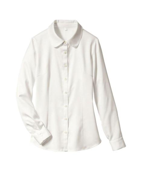 パウダーサテンシャツ(抗菌防臭加工)(リボンタイ。フリルタイ...