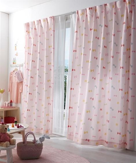 【送料無料!】リボン柄カーテン ドレープカーテン(遮光あり・...